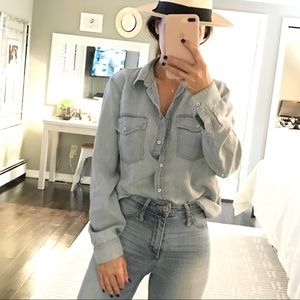 Club Monaco light denim look button down shirt M